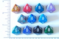 Dice : D8 OPAQUE ROUNDED SPECKLED WITH WHITE 1