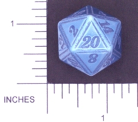 Dice : METAL ALUMINUM D20 01 CAVE BADGER 04 BLUE ETCHED EDGES