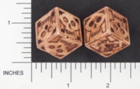 Dice : D6 2 OPAQUE SHARP SOLID BRIANS BAZAR SKULL 01