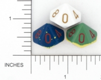 Dice : D10 OPAQUE ROUNDED TWO TONE 01