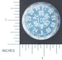 Dice : D100 CLEAR AND WHITE LARGE WITH SOLID BLUE 01