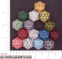 Dice : D20 OPAQUE ROUNDED SOLID Q WORKSHOP MYSTIC 01