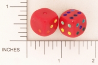 Dice : D6 OPAQUE ROUNDED SOLID RED MULTI COLOR PIPS 01