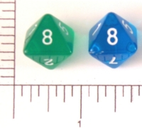 Dice : D8 CLEAR ROUNDED SOLID 3
