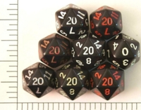 Dice : D20 OPAQUE ROUNDED SOLID BLACK 01