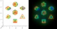 Dice : MINT54 LITTLECLUUS GLOW IN THE DARK RAINBOW SET