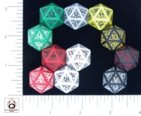 Dice : D20 OPAQUE ROUNDED SOLID Q WORKSHOP ELVEN II 01