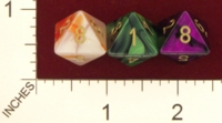 Dice : D8 OPAQUE ROUNDED IRIDESCENT SWIRL CHESSEX 2009 GEMINI 01