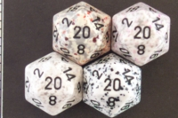 Dice : D20 OPAQUE ROUNDED SPECKLED WITH BLACK 2