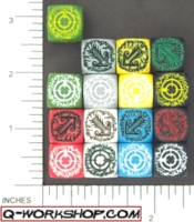 Dice : NON NUMBERED OPAQUE ROUND SOLID Q WORKSHOP ELVEN SCATTER 01