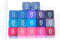 Dice : NUMBERED OPAQUE ROUNDED SPECKLED WITH METAL 1