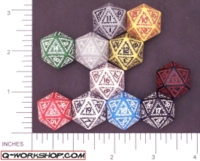 Dice : D20 OPAQUE ROUNDED SOLID Q WORKSHOP RUNIC II 01
