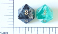 Dice : D8 OPAQUE ROUNDED SWIRL CRYSTAL CASTE SILK 2