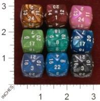 Dice : D24 CLEAR ROUNDED IRIDESCENT UNKNOWN TAIWANESE 01
