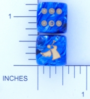 Dice : D6 OPAQUE ROUNDED SWIRL CHESSEX CUSTOM 13 FOR JSPASSNTHRU ANGEL