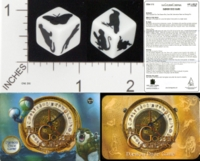 Dice : NON NUMBERED OPAQUE ROUNDED SOLID MARINA GAMES THE GOLDEN COMPASS DAEMON DICE GAME 01