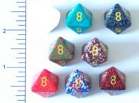 Dice : D8 OPAQUE ROUNDED SPECKLED WITH YELLOW 1