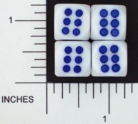 Dice : D6 OPAQUE ROUNDED SOLID WHITE TAPPERS 01