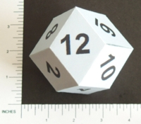 Dice : PAPER D12 MY DESIGN RHOMBIC DODECAHEDRON NUMBERED