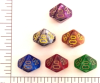 Dice : D10 OPAQUE ROUNDED SWIRL CHESSEX VORTEX PCT
