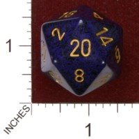 Dice : D20 OPAQUE ROUNDED SPECKLED CHESSEX GOLDEN COBALT JUMBO 01