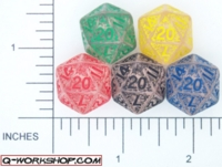 Dice : D20 CLEAR ROUND SOLID Q WORKSHOP ELVEN 01