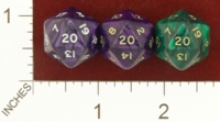 Dice : D20 OPAQUE ROUNDED IRIDESCENT CRYSTAL CASTE CHEATER 01