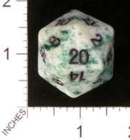 Dice : STONE D20 CRYSTAL CASTE JADE GREEN 01