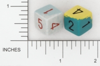 Dice : NUMBERED OPAQUE ROUNDED TWO TONE 01