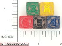 Dice : NUMBERED CLEAR ROUNDED SOLID Q WORKSHOP CELTIC 01
