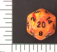Dice : D20 OPAQUE ROUNDED SWIRL CHESSEX VORTEX MAGMA