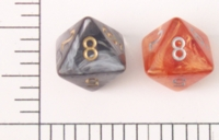 Dice : D8 TRANSLUCENT ROUNDED SWIRL CHESSEX LEAF 1