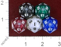 Dice : D20 OPAQUE ROUNDED IRIDESCENT CRYSTAL CASTE TREE SPINDOWN COUNTDOWN
