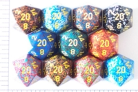 Dice : D20 OPAQUE ROUNDED SPECKLED WITH YELLOW 1