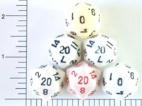 Dice : D20 OPAQUE ROUNDED SOLID WHITEISH