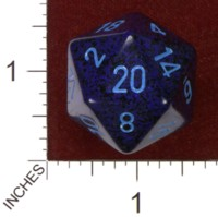 Dice : D20 OPAQUE ROUNDED SPECKLED CHESSEX COBALT JUMBO 01