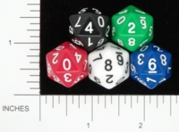 Dice : D20 OPAQUE ROUNDED SOLID KOPLOW 0 TO 9 01
