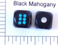 Dice : STONE D6 BLACK MAHOGANY