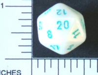 Dice : D20 OPAQUE ROUNDED IRIDESCENT CRYSTAL CASTE SATIN 1