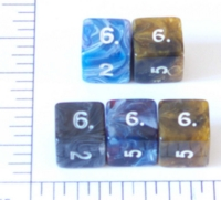 Dice : NUMBERED OPAQUE ROUNDED SWIRL 1