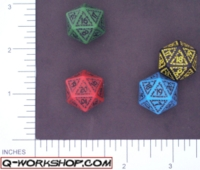Dice : D20 OPAQUE ROUNDED SOLID Q WORKSHOP RUNIC II 02