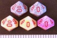 Dice : D10 OPAQUE ROUNDED SPECKLED WITH RED 1