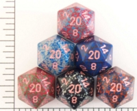 Dice : D20 OPAQUE ROUNDED SPECKLED WITH PINK 1