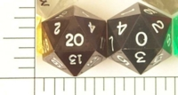 Dice : D20 OPAQUE SHARP SOLID BLACK 02