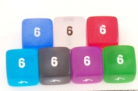 Dice : NUMBERED TRANSLUCENT ROUNDED SOLID FROSTED 1