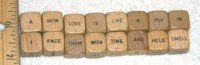 Dice : DUPS IN NON NUMBERED 02 SCRABBLE SENTENCE CUBES