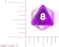 Dice : D8 CLEAR ROUNDED SOLID 2