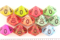 Dice : D10 OPAQUE ROUNDED SPECKLED WITH BLACK 2