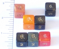 Dice : NUMBERED OPAQUE ROUNDED IRIDESCENT CC ANCIENTS PLUS
