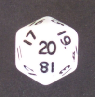 Dice : D20 OPAQUE ROUNDED SOLID WHITE 2
